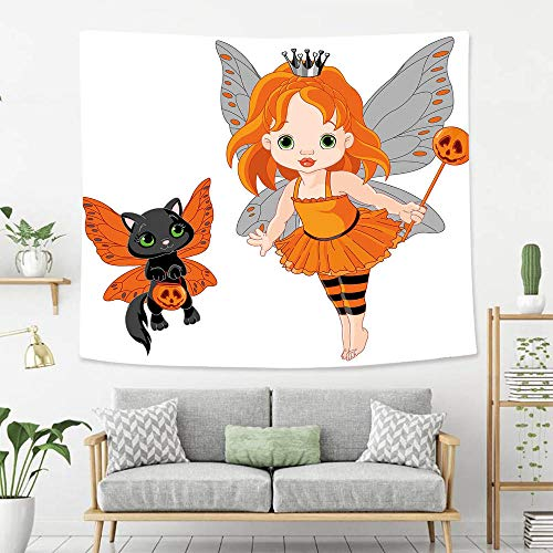 Creative Custom Tapestry Halloween Halloween Baby Fairy and Her Cat in Costumes Butterflies Girls Kids Room Decor Decorative Multicolor Polyester Fabric Tapestries for Bedroom Living Room Dorm]()