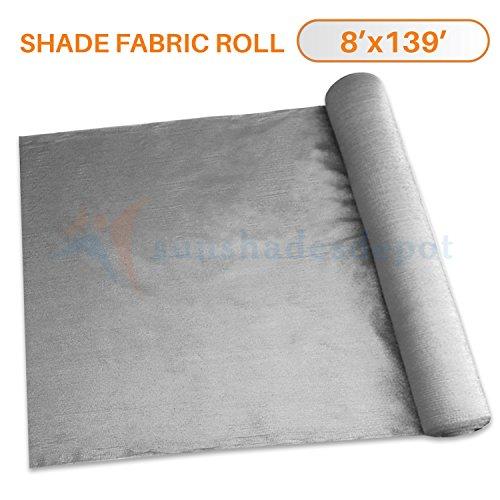 139' Light (Sunshades Depot 8' x 139' Shade Cloth 180 GSM HDPE Light Grey Fabric Roll Up to 95% Blockage UV Resistant Mesh Net)