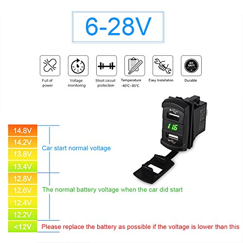 WATERWICH 5V 4.2A Marine Dual USB Car Charger Adapter Socket Waterproof with Led Digital Voltmeter For Universal Rocker Switch Boat RV Vehicle