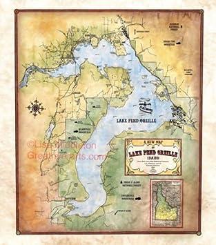 Amazon 068 lake pend oreille idaho vintage historic antique 068 lake pend oreille idaho vintage historic antique map poster print gumiabroncs Choice Image