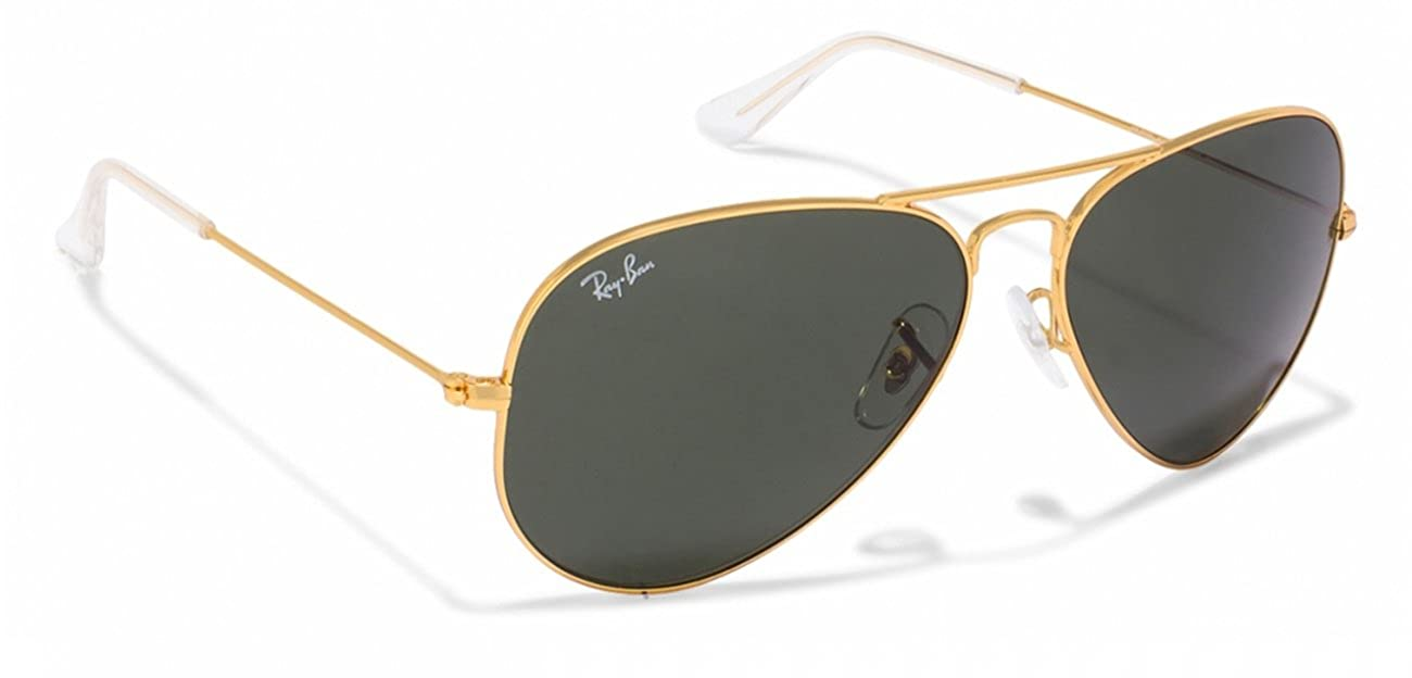 469ae2246 Amazon.com: Ray-Ban RB3025 Classic Aviator Sunglasses Gold/Crystal Grey  green (L0205) RB 3025 58mm: Clothing