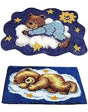 2 Sets Bear Latch Hook Rug Kits DIY Pillow Mat Rug Making for Kids Adults Beginners 50x36cm/50x40cm