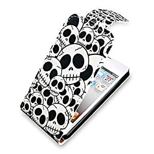 HP DF Skull Pattern Up-Down Turn Over PU Leather Full Bady Case for iPhone 4/4S