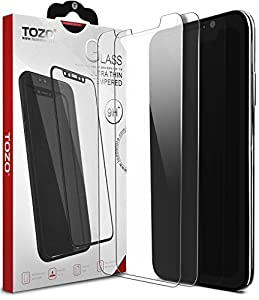 TOZO for iPhone X Screen Protector 2 Pack Premium Tempered Glass 9H Hardness 2.5D Super Easy Apply for iPhone 10 / X [0.26MM] 2PCS by TOZO
