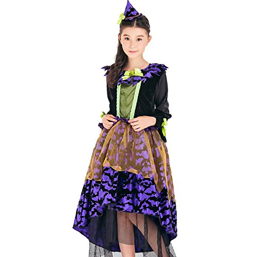 Spring fever Halloween Girls Fairytale Glitter Purple Witch Costume Toys Child's Pretty dress up M for height(43.3