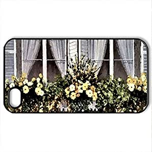 Spring Windows F1 - Case Cover for iPhone 4 and 4s (Houses Series, Watercolor style, Black)