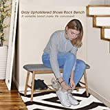 Bamboo Upholstered Shoe Bench Seat - Entryway