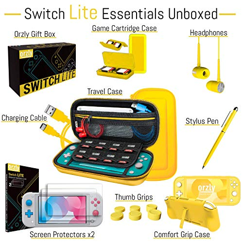 Orzly Switch Lite Accessories Bundle - Case & Screen Protector for Nintendo Switch Lite Console, USB Cable, Games Holder, Comfort Grip Case, Headphones, Thumb-Grip Pack & more (Orzly Gift Pack Yellow)