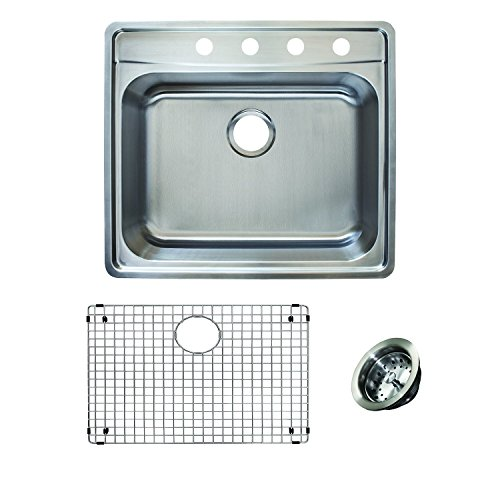 Franke Evolution All-in-One 25 Wide 8-inch Deep Top Mount 4-Hole Single Bowl Stainless Steel Kitchen Sink Kit, EVSCG804-18KIT, Left-to-Right x 22-in Front-to-Back x, Satin