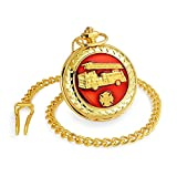 Bling Jewelry Large Red Enamel Fire Engine Firefighter Quartz Silver Gold Plating Mens Pocket Watch