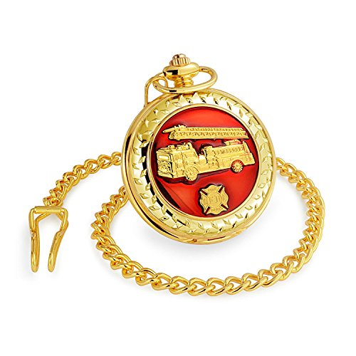 Personalized Fire Man Engine Firefighter Numeral White Dial Pocket Watch Red Enamel Gold Plated Alloy Custom Engraved