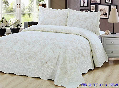 (Beauty Sleep Bedding Luxury Embroidered Reversible 3 Pieces Quilt Set with 2 Quillted Shams, Cream Color, Queen Size)