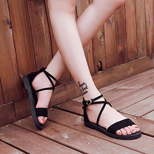 keephen Chaussures Décontracté D'Été à Noir Bas Bas Ouverts Noir Talons Mode Talons Chaussures Sandales la à Plat rFCw1qrd