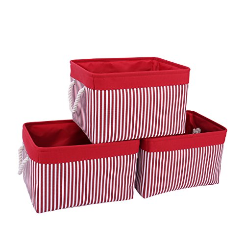 TcaFmac Large Fabric Storage Basket Set|3-Pack|, Decorative Collapsible Canvas Storage Bin Containers with Rope Handles Empty Gifts Baskets for Shelves,Baby Basket (Red Patchwork, 3-Pack)