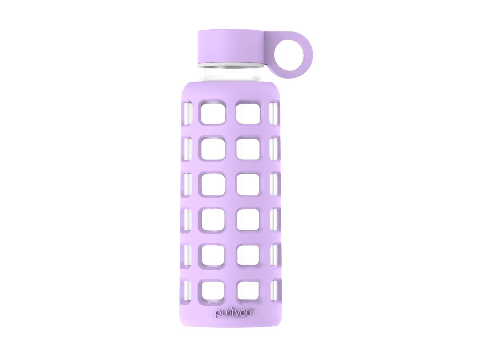 purifyou Premium Glass Water Bottle with Silicone Sleeve & Stainless Steel Lid Insert, 12/22/32 oz (Lavender, 12 oz)