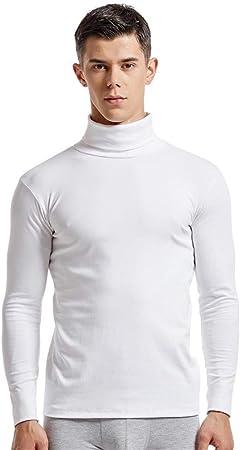 MJTCJY Algodón Ropa Interior térmica for Hombre Cuello Alto más el tamaño de Long Johns Tops