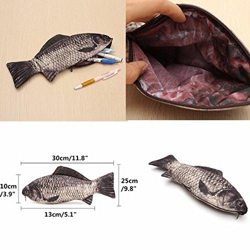 Caveen Fish Like Pencil Case Pen Box Holder Zipper Pouch Coin Purse Cosmetic Bag Photo #3