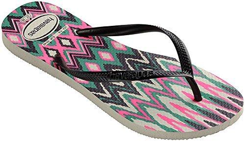 Havaianas Womens Slim Tribal Flip Flop Sandal White/Black/Pink Size 37-38 BR/7-8 B(M) US (Sandals Flip Flop Slim)