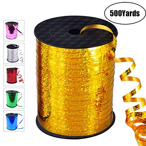 500 Yards Curling Ribbon-Balloon Ribbon-Balloon String for Art&Craft Decor,Gift Wrapping,Ribbons and Bows for Birthday Gifts (Gold)