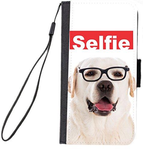 Rikki Knight Selfie Golden Retriever Hipster Glasses Dog Design Galaxy S6 Premium PU Leather Wallet Type Flip Case - - Hipster Glasses Types Of
