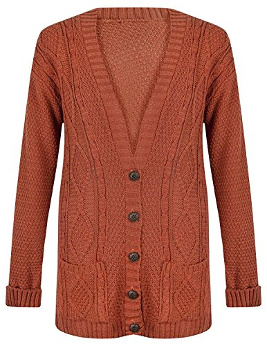 OgLuxe Women#039s Ladies Long Sleeve Pocket Cable Knit Chunky Cardigan Size 624 L/XL UK 1618 EU 4446 US 1214 Rust