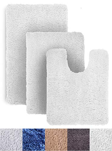 Luxe Rug White Plush Bathroom Rugs Bath Shower Mat Set w Non Slip Microfiber Super Absorbent Rug Alfombras para Baños (3, White)