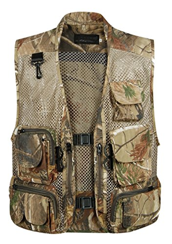 Gihuo Men's Outdoors Utility Hunting Travels Tactical Mesh Removable Vest With Multiple Pockets (Large, Desert) (Hunting Vest)