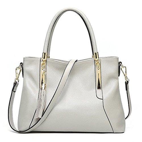 Satchels Lady Bags Supple Genuine Hobo Shoulder Leather Grey Soft Women Handbags U4zn8Oqn