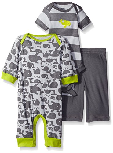 Gerber Baby Three-Piece Coverall, Bodysuit, and Pant Set, Whale, New Born