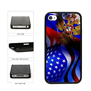 Russia and USA Mixed Flag Plastic Phone Case Back Cover Apple iPhone 4 4s