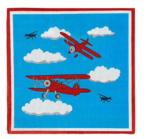 Airplane Paper Napkins for Birthday Parties (6.5 x 6.5 In, Blue, 150 Pack)