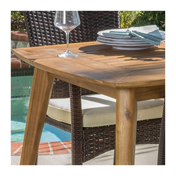"Christopher Knight Home Pisciotta | 7 Piece Wood Outdoor Dining Set with Brown Wicker Stacking Chairs | Perfect for Patio | with Teak Finish - Includes: One (1) Dining Table and Six (6) Stacking Chairs Table Dimensions: 35.50"" D x 71.00"" W x 29.25"" H Seat Dimensions: 22.25"" D x 26.00"" W x 35.00"" H - patio-furniture, dining-sets-patio-funiture, patio - 51MJqbJxXdL. SS570  -"