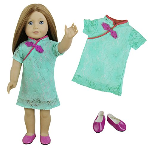 ZITA ELEMENT Fashion Cheongsam Dress and Shoes for American 18 inch Girl Doll Clothes Outfits | 2 Items = 1 Cheongsam & 1 Shoes