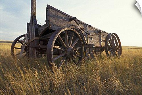 Paul Souders Wall Peel Wall Art Print entitled Canada, Saskatchewan, An old horse-drawn cart in a field near Maple Creek 36