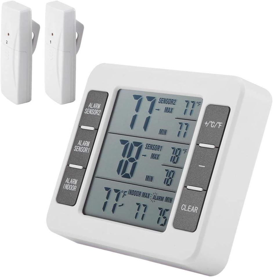 Termómetro digital para frigorífico, inalámbrico, con alarma ...