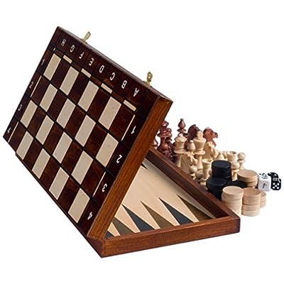 Senator European Chess, Checkers and Backgammon Set, 16 Inches