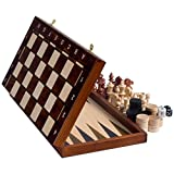 Senator European Chess, Checkers and Backgammon Set, 16 Inches