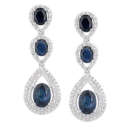 Revoni Bague en or blanc-18carats Diamant et Saphir 3couche Goutte Dangle-Boucles d'Oreilles Pendantes Femme -