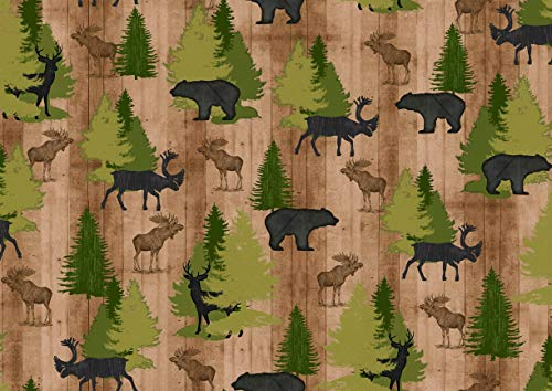 Wildlife Fabric Moose Trail Lodge with Trees in Tan from Quilting Treasures 100% Premium Quality Cotton Fabric by The Yard