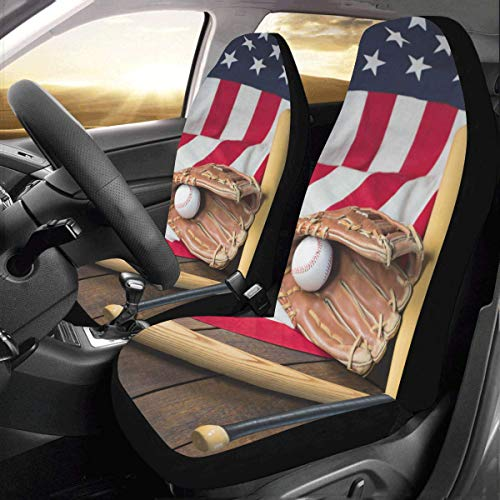 - Artsadd Baseball Bat and Glove On American Flag Car Seat Covers (Set of 2) Best Automobile Seats Protector
