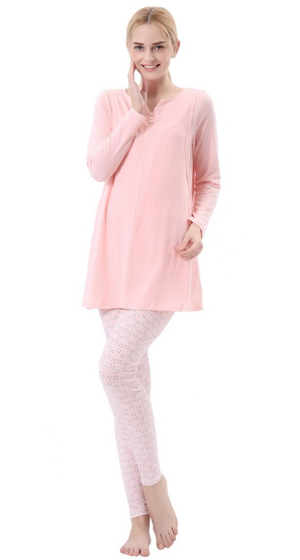Niyatree Pink Maternity Nursing Pregnancy Top Sleep Lounge Pajama Set Cat XXL