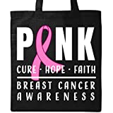 Inktastic - Breast Cancer Awareness Pink Cure Hope Faith Tote Bag Black 31606