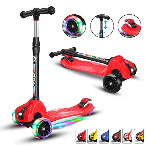 XJD Kick Scooter for Kids 3 Wheel Scooter for Toddlers Girls & Boys, 4 Adjustable Height, Extra-Wide Deck, with Max Glider Deluxe PU Flashing Wheels for Children from 3 to 14 Year-Old, Red