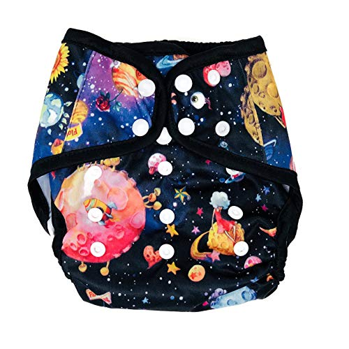 BB2 Baby One Size Printed Black Gussets Snaps Cloth Diaper Cover for Prefolds (One Size, Navy Blue Space)