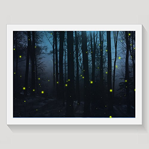 Fireflies In Dark Blue Forest Framed Wall Art Prints On Canvas Wall Decorations Picture Wooden Frames Gift (Firefly Frame)