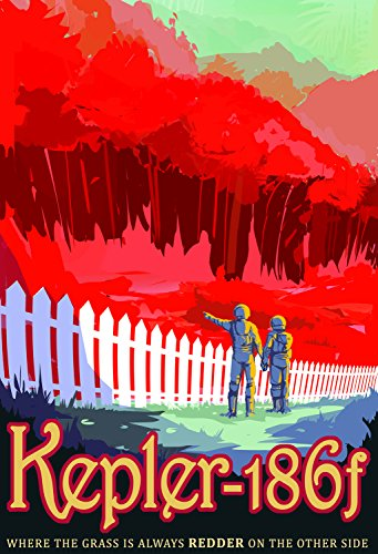 Astronomy Travel Poster - Kepler-186f, where the grass is always Redder on the other