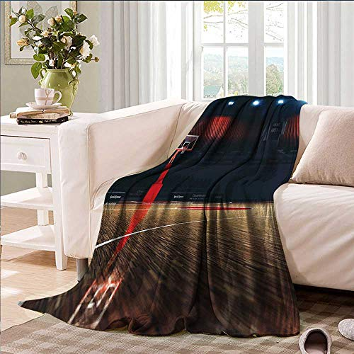smallbeefly Basketball Digital Printing Blanket Picture of Empty Basketball Court Sport Arena with Wood Floor Print Summer Quilt Comforter 50''x30'' Brown Black and Red by smallbeefly (Image #1)
