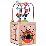 Wooden Bead Maze Activity Center, Around Circle Educational Skill Improvement Wood Toys for Kids
