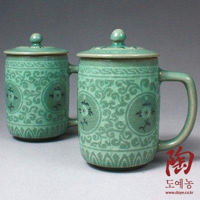 2 Celadon Jade Blue Glaze Chrysanthemum Arabesque Flower Design Personal Green Ceramic Pottery Porcelain Tea Coffee Cup Mug Teacup Lid Gift Set by Antique Alive Tabletop