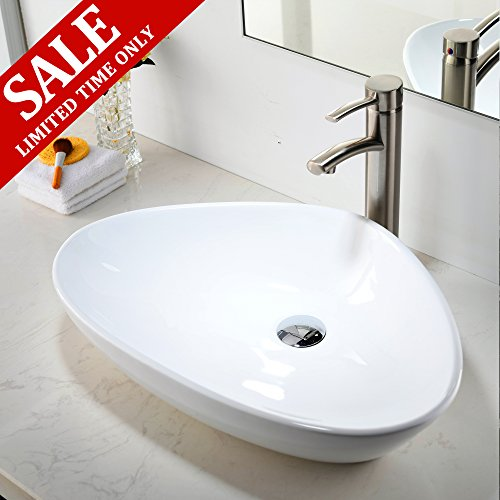 Comllen Contemporary Ceramic Bathroom Vessel Sink, Art Basin 23.2'' x 15.7'' Porcelain Bathroon SInk by Comllen